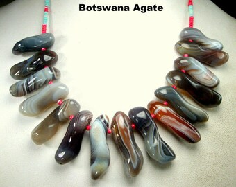 BOTSWANA Agate Stone Spikes Necklace, Black White Brown Variegated Striped GORGEOUS Shapely Points, From Mother Nature, African