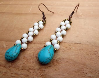 White Beaded Statement Style, Long Turquoise Accessories, Bohemian Wedding Jewelry, Lightweight  Woven Womens Fashion Summer Earrings