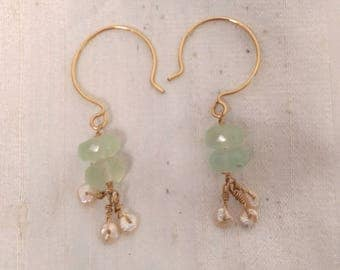 14k GF Chalcedony and Keshi Freshwater Pearl Earrings