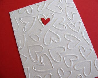 Single Heart on Creamy Ivory Embossed Multi Heart Card / Red Heart Shown or Your Color Choice / Love, Wedding, Anniversary / Made to Order