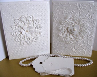 SET of 2 Embossed Creamy Ivory 3D Cards with Shimmery Ivory Flower & Heart / 2 Gift Tags / Anniversary, Wedding, Bridal Shower