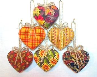 Fall Heart Ornaments   Thanksgiving Decor   Halloween   Fall Decor   Party Favors   Handmade Gift   Folk Art   Fabric Heart   Set/6    #1