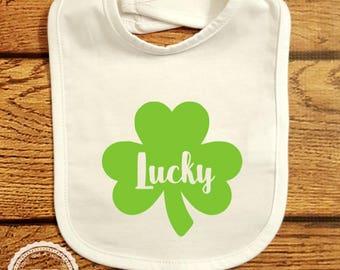St Patricks Day Bib- Lucky Clover Shamrock- Baby First St Pattys Day Outfit- Infant Toddler Smock- Clover Shamrock Irish- Kids apron- #077