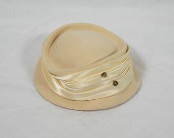 Vintage White Cream Felt Hat with Rhinestones 1950