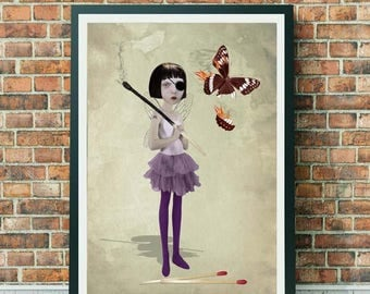 Fire Fairy Art Print - Fire Fairy And Matchstick - Fairy Art - A3 Art Print - Wall Decor - Playing With Fire