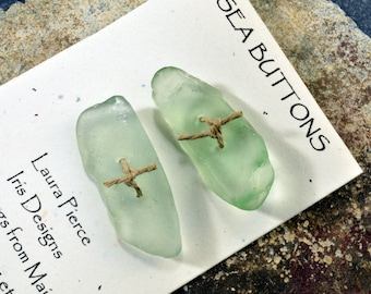 Two large glowing sea foam green genuine Maine sea glass buttons eco friendly accent for sweaters shawls jackets and jewelry craft