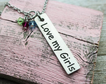 Love my Girls Charm Necklace, fine pewter