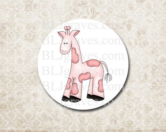 Giraffe Stickers - Baby Shower Stickers-  Girl Boy Shower Party Favor Stickers - Treat Bag Sticker SB007