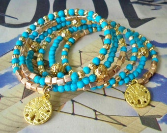 Wrap Bracelet - Turquoise and Gold beads - Gold sanddollar charms - Boho chic - Bohemian jewelry - One size fits all - bycat
