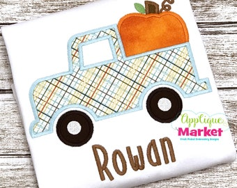 Machine Embroidery Design Applique Truck with Pumpkin INSTANT DOWNLOAD