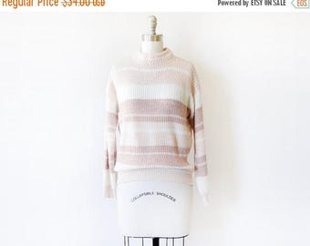 20% OFF SALE 80s striped sweater, vintage pink and white sweater, chunky knit sweater, medium large