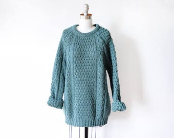 Irish cable knit sweater, vintage fisherman's sweater, teal green wool aran sweater, slouchy pullover knit, medium to xl