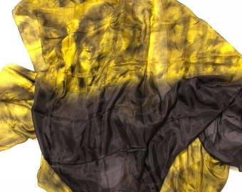 Yellow and Black Silk Veil
