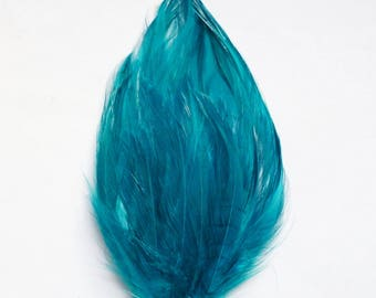 Teal Dark Turquoise Hackle Feather Pad
