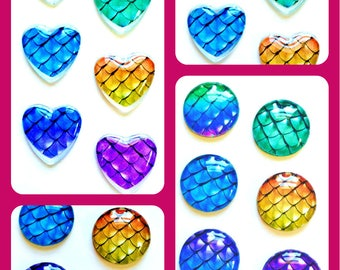Mermaid Magnets - Mermaid Scale Magnet - Mermaid Party Favor - Mermaid Wedding - 1 inch Glass Circles or Hearts