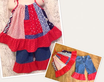 July 4th * USA Flag Patriotic pillowcase tunic halter top and capris pants CUSTOM SIZES child 3 4 5 6 7 8 10 12 14 your choice