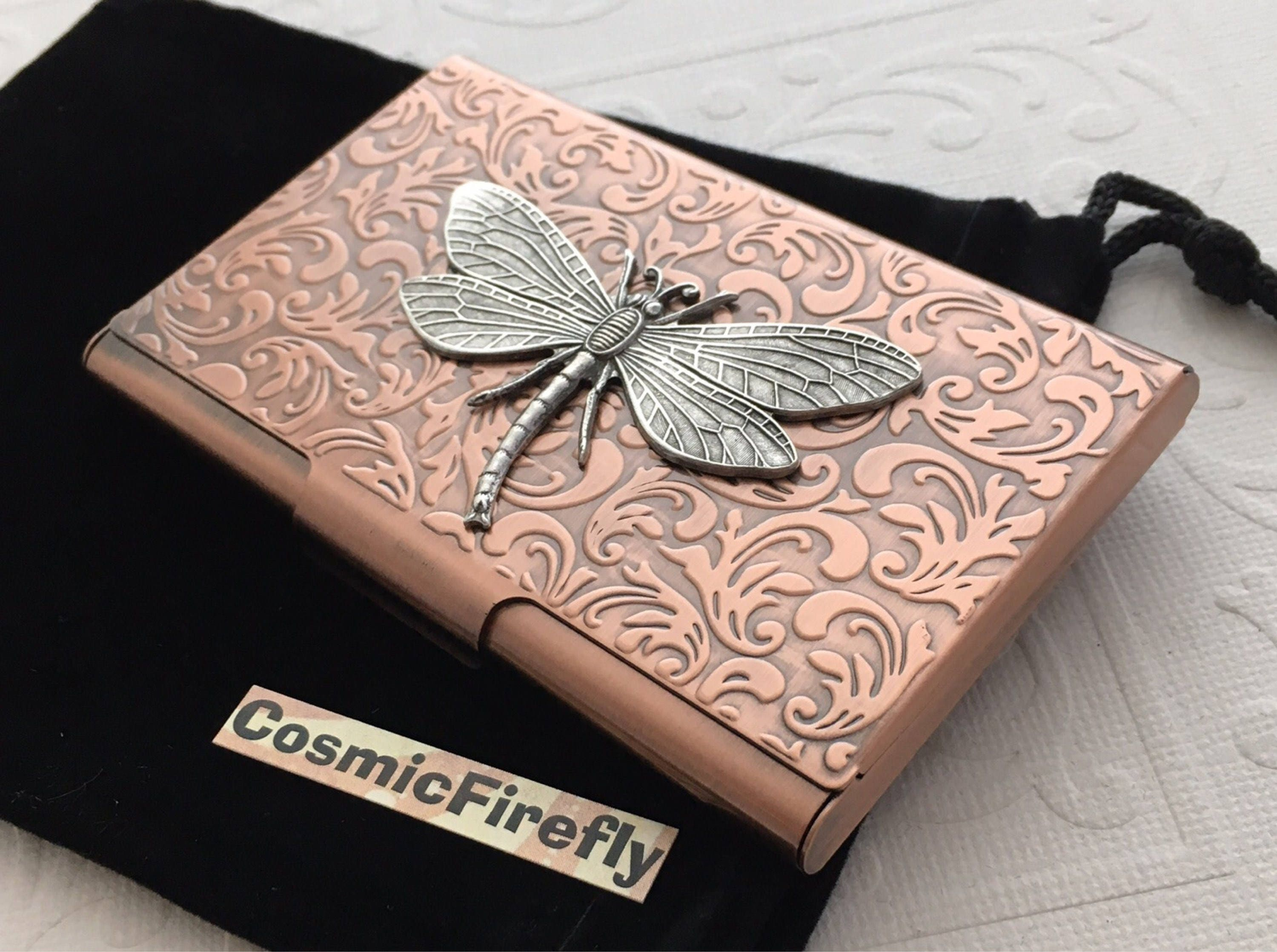 Copper Card Case Dragonfly Card Case Steampunk Card Case Business ...