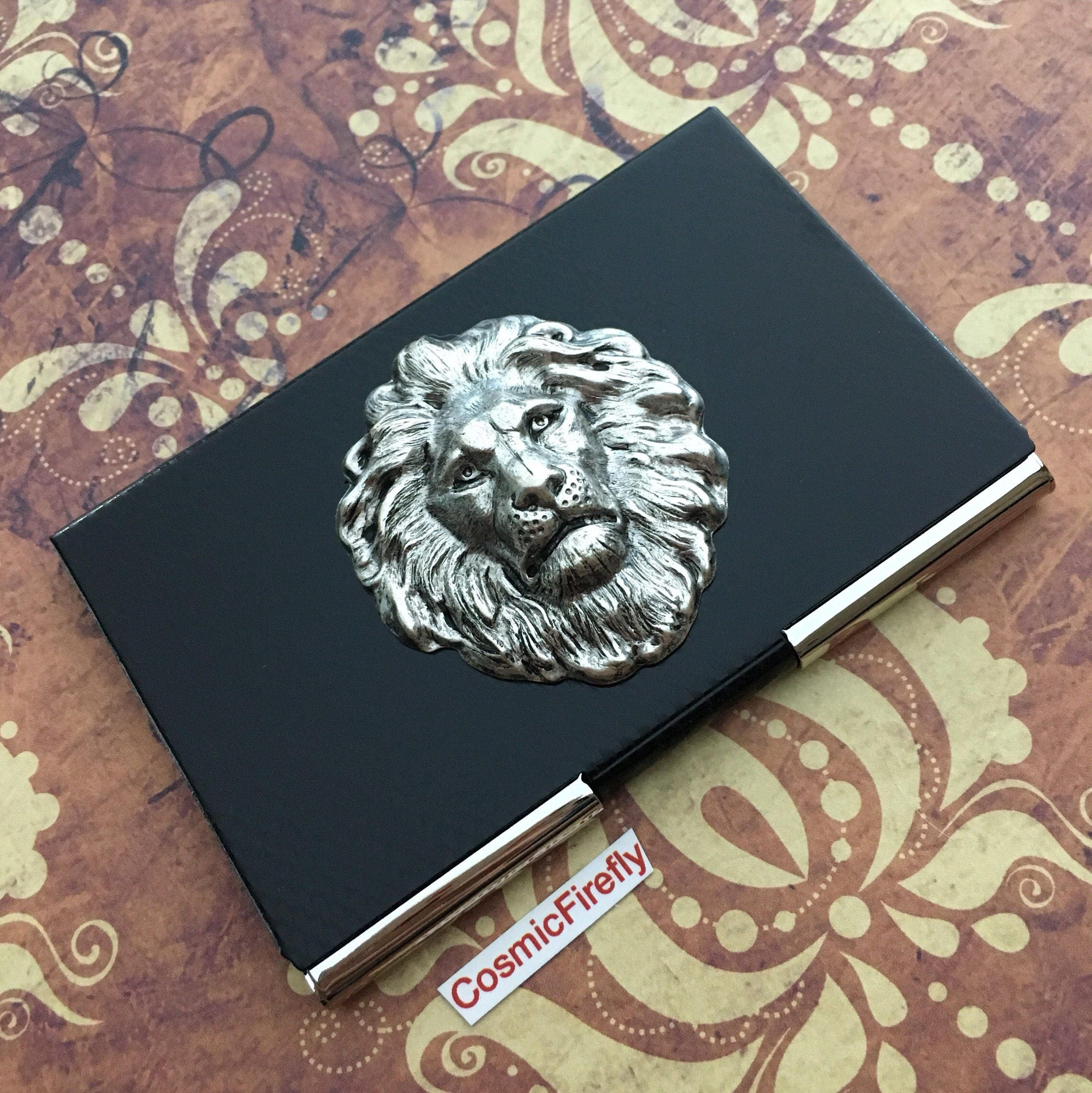 Leo Lion Business Card Case Silver & Black Carbon Fiber Style ...