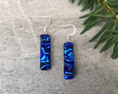 Blue Velvet Ripple Dichroic Glass Earrings