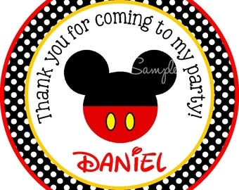 Mickey Mouse Stickers, Personalized Mickey Mouse Stickers, Mickey Mouse Stickers for Invitations, Cups, Favors etc - Stickers or Gift Tags