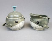 Handmade Whale Sugar Bowl and Creamer Set - Stoneware Ceramic Pottery Cute Humpback Whales, Coffee Tea Server Set Lidded Jar and Pitcher
