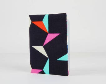 Fabric card holder - Tangrams indigo / Japanese fabric / Cotton and Steel / Moonlit / geometric shapes / turquoise red pink white navy blue