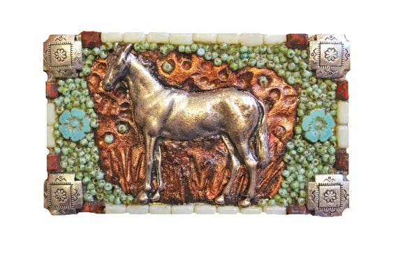 Western Silver Horse Belt Buckle with Czech Glass Beads