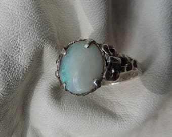 opal ring sterling silver opal bow ring