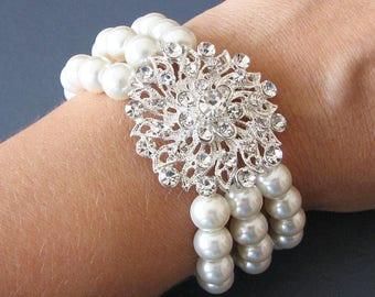 Bridal Bracelet Cuff Bracelet Wedding Jewelry Bridal Jewelry Pearl Cuff Bracelet Crystal Rhinestone Bracelet