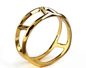 SALE 20% Off - DANDY Unique Mens Wedding Band, Gold Mens Wedding Band, Mens Wedding Ring, Gold Mens Ring, Gold Mens Band, Ring for Men