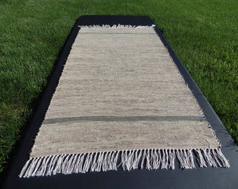 "Hand Crafted Tan with Brown Border Rag Rug 25"" x 42"""