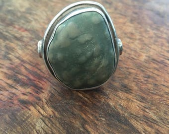 Silver ring   Beach stone   Statement ring     Sterling silver