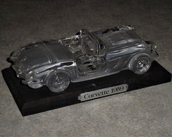 Hofbauer Crystal West Germany vintage 1959 Corvette Convertible glass crystal paperweight figure on black wood stand