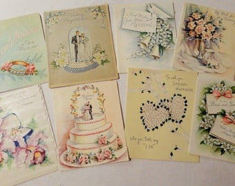 Bride and Groom Wedding Cake and Rings Symbol Happy Days in Vintage Wedding Lot No 114 Total of 7 Cards