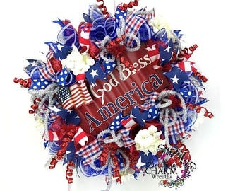 ON SALE Deco Mesh 4th of July Wreath, Patriotic Wreath, Red White and Blue Wreath for Door, Patriotic Hydrangea Wreath, God Bless America De