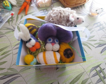 needle felted EASTER EGGS and other goodies for easter display or gifting, spring lamb, fanciful eggs, bunny big head,