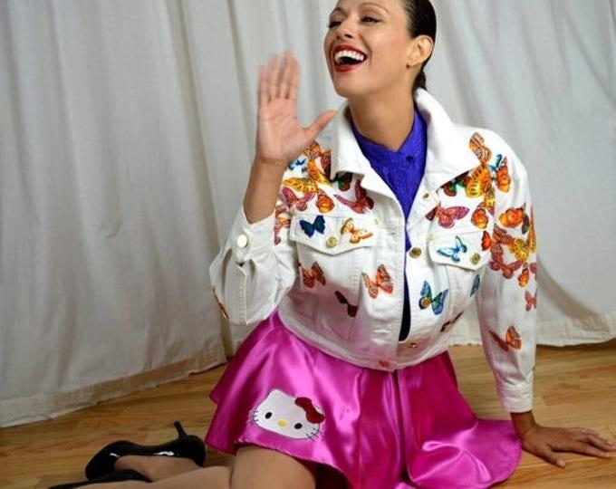 sale Vintage Jacket, White Jean Jacket, Butterfly Print, Designer Jacket, Esacada Jacket,  Butterfly Jacket, Early 90s Jacket,