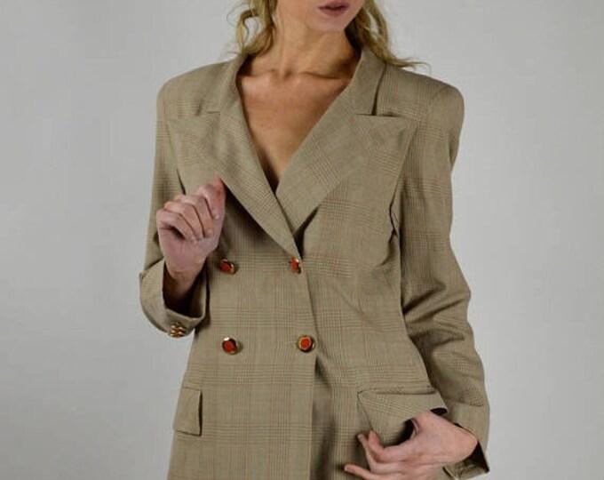 sale Vintage Suit, 90s Suit, Double Breasted Suit, Tan Orange Suit, Professional Suit, Plaid Suit, Pencil Mini Skirt, Retro Suit, Size 4