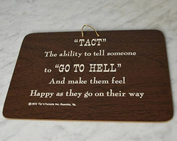 sale Vintage Funny Office Sign, Go to Hell Sign, Funny Signs, Office Signs, Wall Hanging, Funny Saying, Humors Sign,