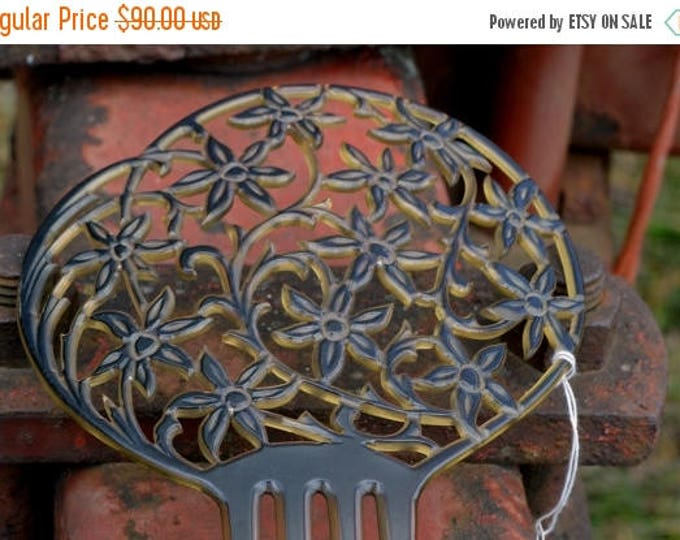 sale 20s Hair Comb, Hair Accessory, Large Hair Comb, Celluloid Comb, Mantilla Hair Comb, Handcrafted Cut Out Open Work