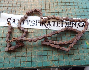 "Rusty Bicycle Chain, 34"", crusty, old bike parts, industrial, great for found art metal sculpture,"