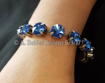 Crystal Bracelet - Sapphire Rivoli Swarovski Crystals - 10 mm stone size