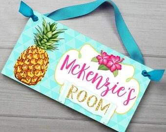 DOOR SIGN Pretty Pineapple Girls Bedroom and Baby Nursery Kids Bedroom Wall Art DS0475