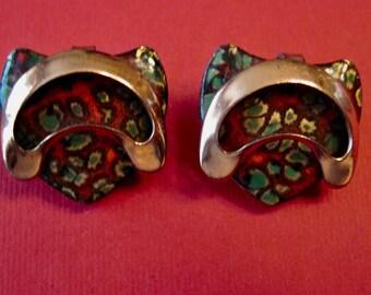 Vintage Mid Century Modern Matisse Copper-Enamel earrings