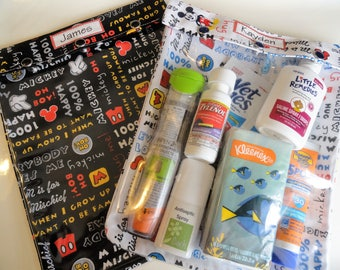 Mickey Mouse Clear Front Pouch Boy Toddler Baby Supplies Diapers Wipes Organizers Snack Bag Travel Disney Park Cruise Fish Extender XXL 8x10