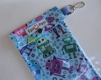 Robots Epi Pen Pouch Clear Pocket and Swivel Clip Holds up to 2 Epi Injector Pens Medical ID Card Included You Choose Size