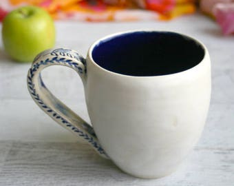 Large Coffee Mug in Matte White and Dark Blue Glazes Stoneware Pottery Coffee Cup 19 oz. Made in USA Ready to Ship