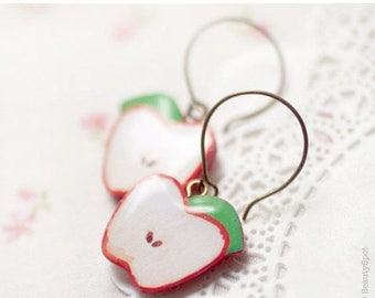 Red apple earrings - Fruit jewelry  (E049)