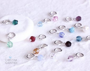 Add A Birthstone Dangle Charm Swarovski Crystal with Sterling Silver, Personalized Hand Stamped Jewelry, Handmade Custom, Christina Guenther
