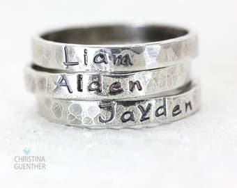 Personalized Name Rings, Sterling Silver Stackable Rings, Stacking, Custom Hand Stamped Jewelry, Names Words Mantras, Christina Guenther
